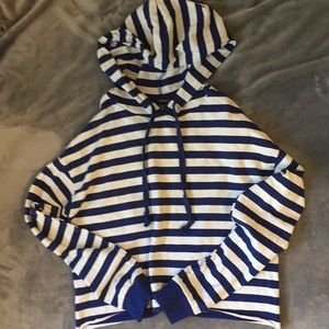 White and Blue Striped Sweatshirt/Hoodie